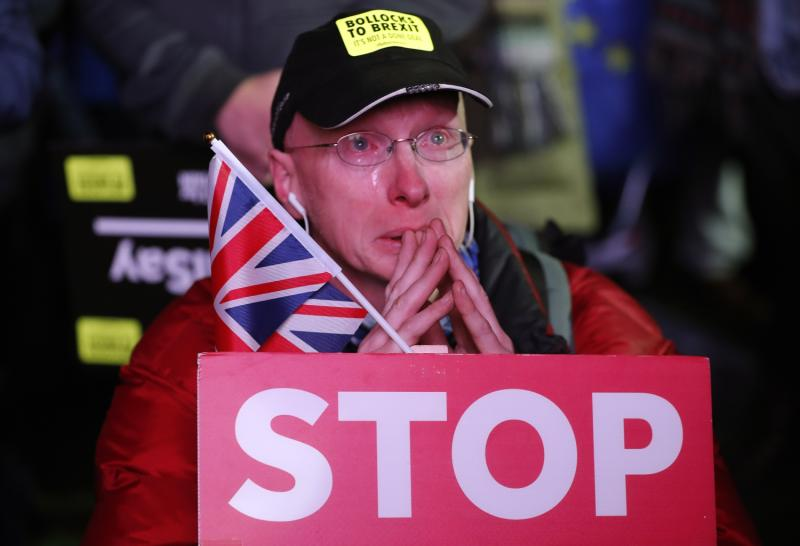 An anti Brexit protester weeps but feelings are strong on both sides