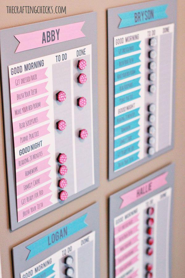 """<p>This checklist for morning and evening routines is magnetic so it can be reused day after day.</p><a href=""""https://thecraftingchicks.com/ikea-first-59-morning-motivation-solution/"""" rel=""""nofollow noopener"""" target=""""_blank"""" data-ylk=""""slk:Get the tutorial at The Crafting Chicks."""" class=""""link rapid-noclick-resp""""><strong><em>Get the tutorial at The Crafting Chicks.</em></strong></a>"""