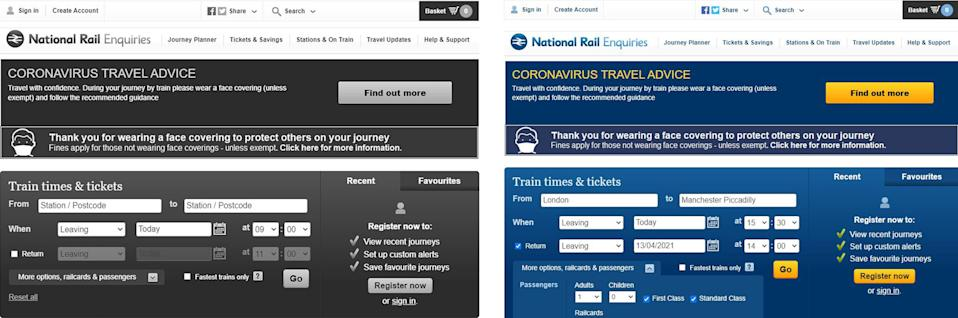 Screengrab of the National Rail Enquiries website