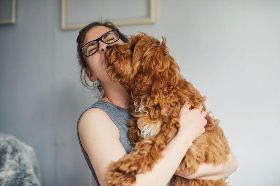 """<p>It's probably not a surprise that spending some extra time with your pet is going to make you feel happier. The Journal of Personality and Social Psychology found that people who have pets experience improved lives. Studies found that <a href=""""https://psycnet.apa.org/record/2011-13783-001"""" rel=""""nofollow noopener"""" target=""""_blank"""" data-ylk=""""slk:pet owners"""" class=""""link rapid-noclick-resp"""">pet owners</a> had better self-esteem, and overall well-being after spending time with their pets.</p><p>Another study done by <a href=""""https://www.prnewswire.com/news-releases/new-study-finds-dogs-make-people-better-happier-and-healthier-humans-300364359.html"""" rel=""""nofollow noopener"""" target=""""_blank"""" data-ylk=""""slk:BarkBox"""" class=""""link rapid-noclick-resp"""">BarkBox</a> in 2016 found that nearly 93% of dog parents in the U.S. say their dog has made them a better person, while 71% of dog parents said their dog made them happier. Give them a big snuggle for at least a few minutes each day - what could be easier?</p>"""