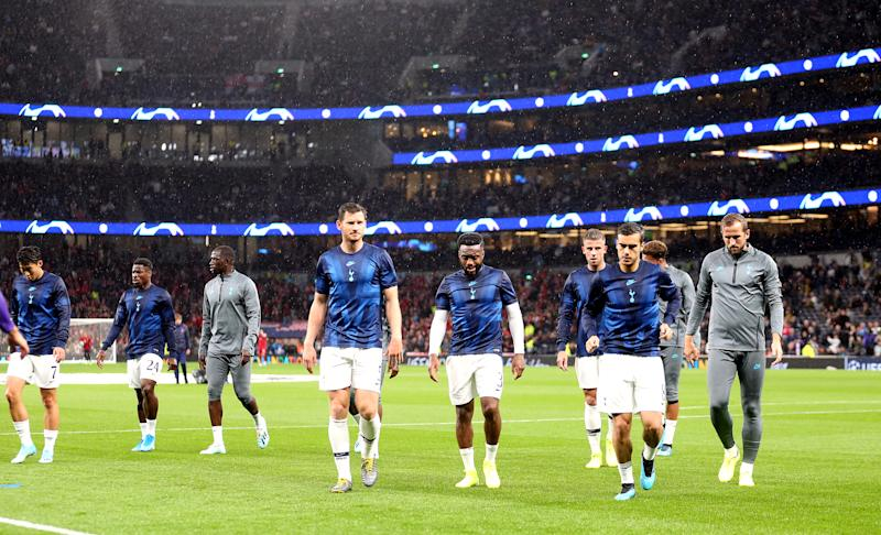 Tottenham Hotspur's players warm up before the UEFA Champions League match at Tottenham Hotspur Stadium, London. (Photo by Steven Paston/PA Images via Getty Images)