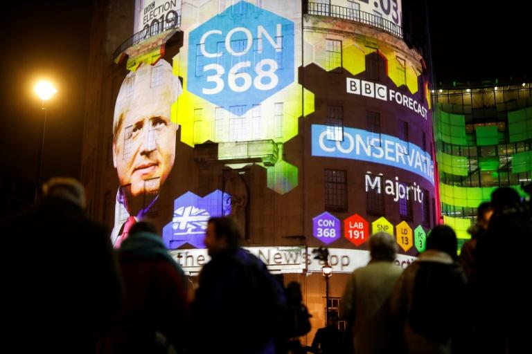 The BBC projected its exit polls on the exterior of its London headquarters on election night