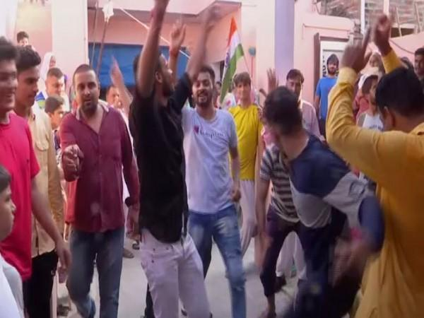 A visual of the celebrations in Sonipat, Haryana (Photo/ANI)