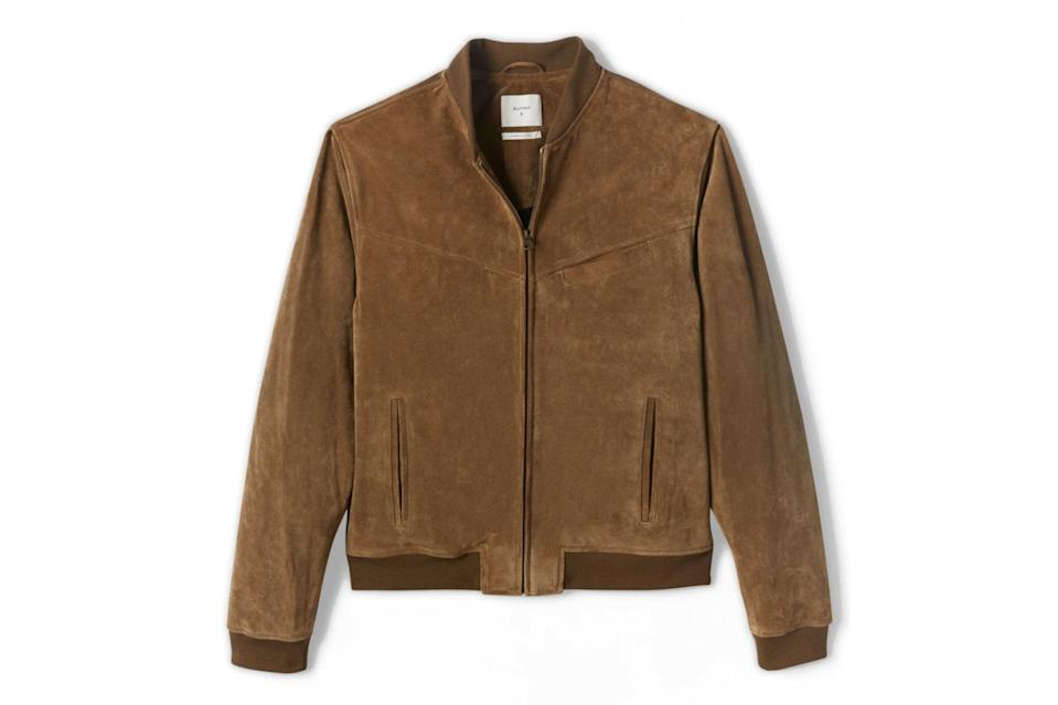 "$1498, Billy Reid. <a href=""https://www.billyreid.com/collections/mens-new-arrivals/products/suede-bomber?variant=34854349045804"" rel=""nofollow noopener"" target=""_blank"" data-ylk=""slk:Get it now!"" class=""link rapid-noclick-resp"">Get it now!</a>"