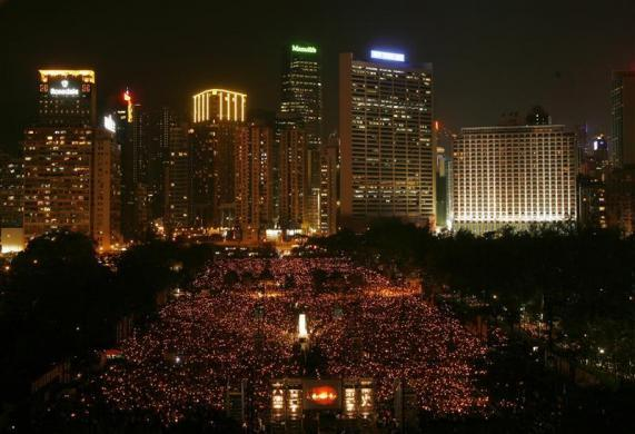 Tens of thousands of people take part in a candlelight vigil at Hong Kong's Victoria Park June 4, 2009, to mark the 20th anniversary of the crackdown on the pro-democracy movement in Beijing's Tiananmen Square in 1989.