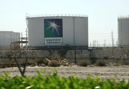 Oil tanks seen at the Saudi Aramco headquarters during a media tour at Damam city