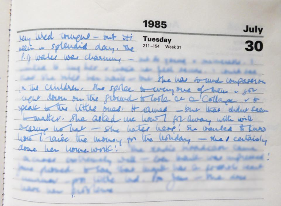 Eileen Nicol's diary about Diana's visit