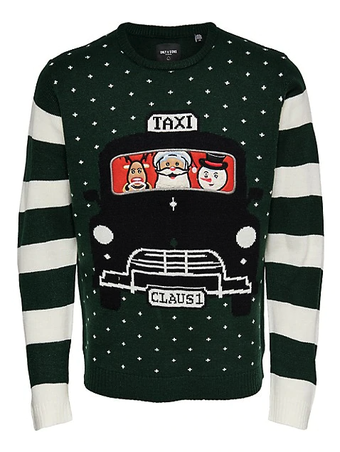 Only & Sons Striped Christmas Sweater. Image via Hudson's Bay.