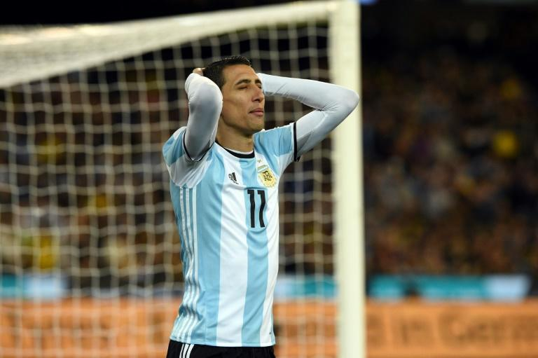 Agrentina's Angel Di Maria reacts to a missed goal during their friendly international football match against Brazil June 9, 2017