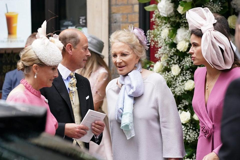 The Earl and Countess of Wessex talk to Princess Michael of Kent, centre, following the wedding of Flora Ogilvy (Jonathan Brady/PA) (PA Wire)