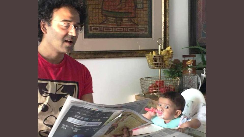 Adhil Shetty and daughter at breakfast