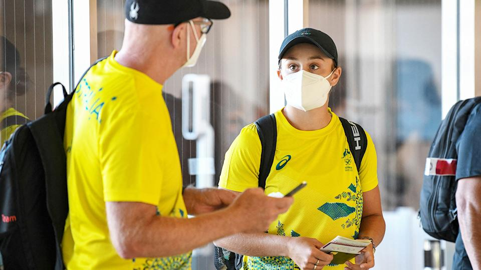Ash Barty, pictured here at Narita international airport for the Tokyo Olympics.