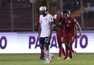 United States´ Kellyn Acosta walks off the pitch after his team´s 1-0 defeat to Panama in a qualifying soccer match for the FIFA World Cup Qatar 2022, at Rommel Fernandez stadium, in Panama city, Panama, Sunday, Oct. 10, 2021. Panama won 1-0. (AP Photo/Arnulfo Franco)