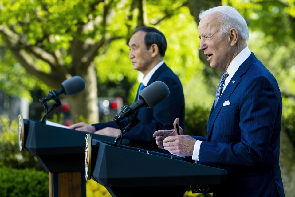 WASHINGTON, DC - APRIL 16: U.S. President Joe Biden (R) and Prime Minister Yoshihide Suga of Japan hold a news conference in the Rose Garden of the White House on April 16, 2021 in Washington, DC. The two leaders met to discuss issues including human rights, China, supply chain resilience and other topics. (Photo by Doug Mills-Pool/Getty Images)