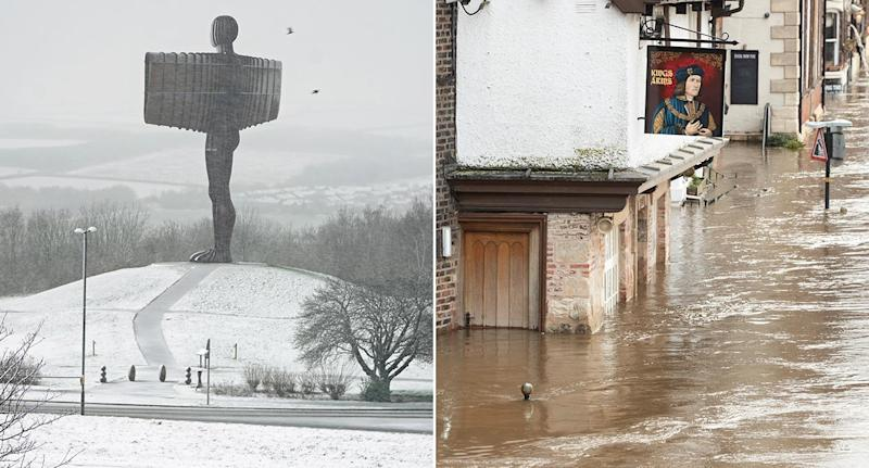 The Angel of the North is covered in snow, while Shrewsbury faces record flood levels (PA)