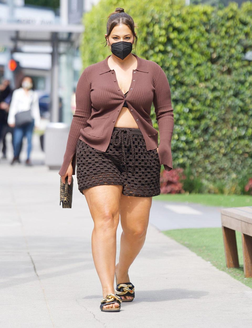 <p>Ashley Graham heads to Soho House in West Hollywood in a brown monochromatic look on Wednesday. </p>