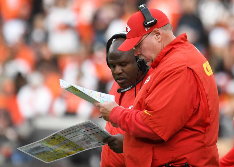 Head coach Andy Reid has called the plays this season for the Chiefs' offense. Eric Bieniemy's input is felt during the game planning phase. (Getty Images)
