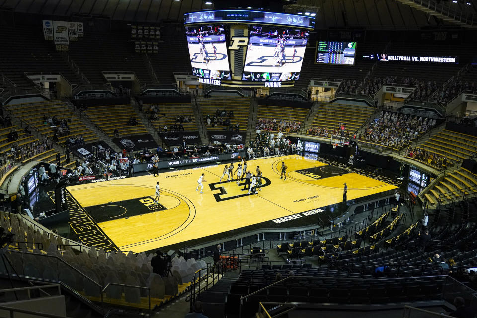 In this photo taken on Tuesday, Feb. 16, 2021, Purdue plays against Michigan State at Mackey Arena during the first half of an NCAA college basketball game in West Lafayette, Ind. Mackey Arena is one of six venues hosting NCAA Tournament games later this week. (AP Photo/Michael Conroy)
