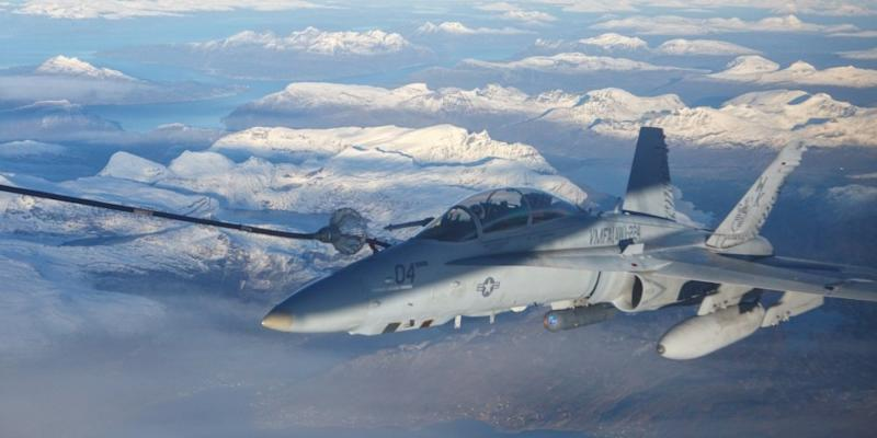 An F/A-18D Hornet, with Marine All-Weather Fighter Attack Squadron (VMFA) 224, conducts an aerial refuel