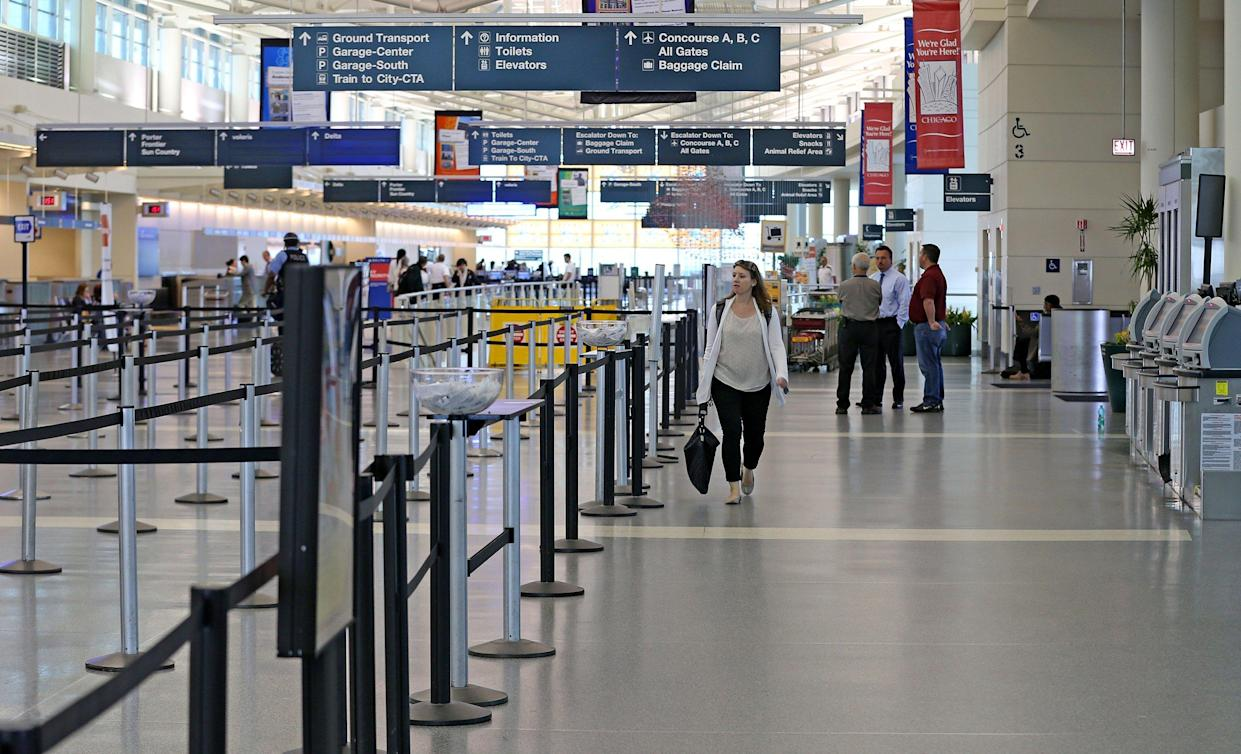 Chicago Midway International Airport was largely empty of travelers on in October 2014, after Southwest Airlines canceled all outgoing flights in the morning due to severe weather concerns. (Photo credit: Phil Velasquez/Chicago Tribune/MCT/Getty Images)
