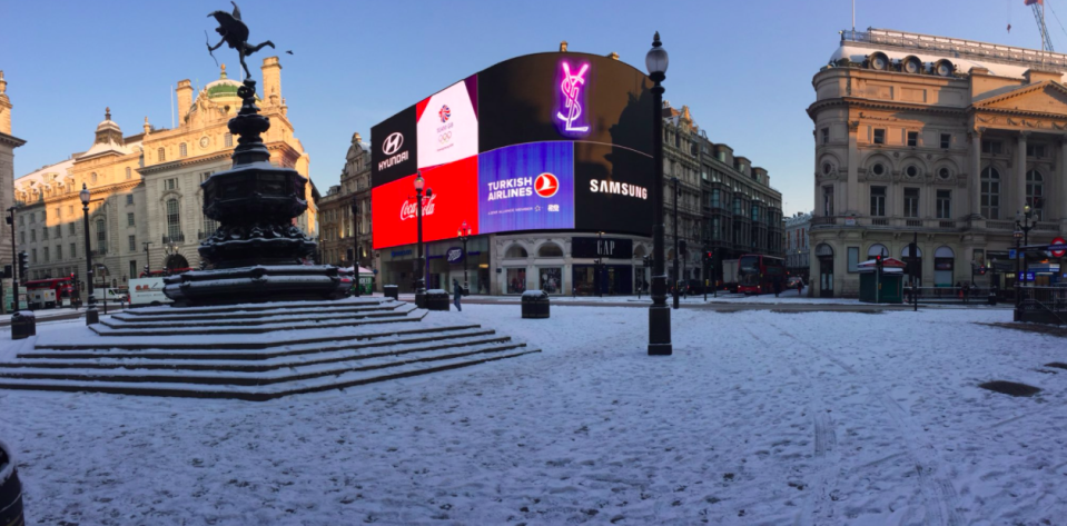 <em>Piccadilly Circus in London seemed deserted this morning as workers stayed at home (Chris Parsons)</em>