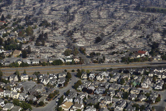 <p>Homes destroyed from fires are seen from an aerial view in Santa Rosa, Calif., Wednesday, Oct. 11, 2017. (Photo: Jeff Chiu/AP) </p>
