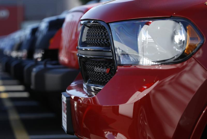 A row of new Dodge Durango SUV's and Jeeps are seen in Gaithersburg, Maryland