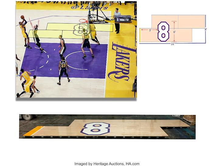 A look at the piece of flooring during Kobe Bryant's final game.