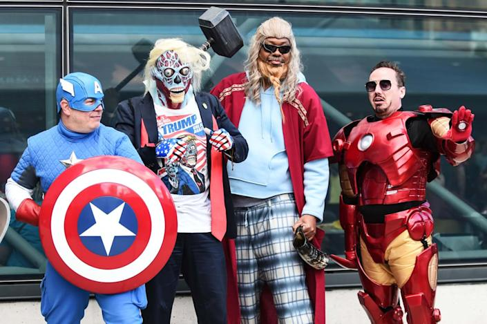 """<div class=""""inline-image__caption""""><p>Cosplayers pose during New York Comic Con 2019 on October 04, 2019 in New York City. </p></div> <div class=""""inline-image__credit"""">DANIEL ZUCHNIK/Getty</div>"""