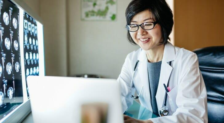 A Japanese doctor in her office