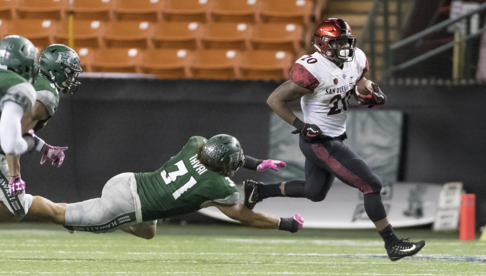 San Diego State running back Rashaad Penny (20) was the Seahawks' first-round pick. (AP)