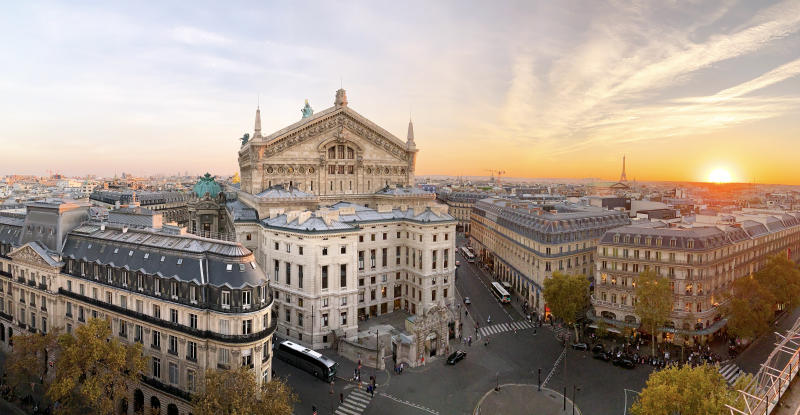 Panoramic view of Paris skyline with Garnier Opera and Eiffel Tower during sunset, Paris, France