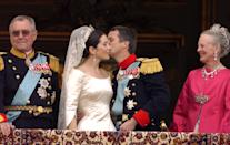 <p>May 2004: Crown Prince Frederik and Mary Donaldson tie the knot at a fairy tale ceremony at Copenhagen Cathedral. Photo: Getty Images.</p>