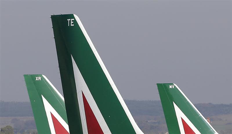 Alitalia planes are pictured before takeoff at the Fiumicino airport in Rome