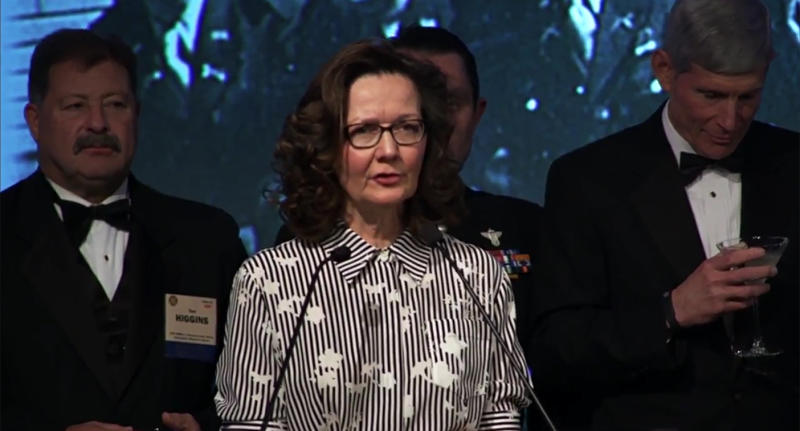Screengrab of Gina Haspel, October 2017. (Video still via the OSS Society/YouTube)