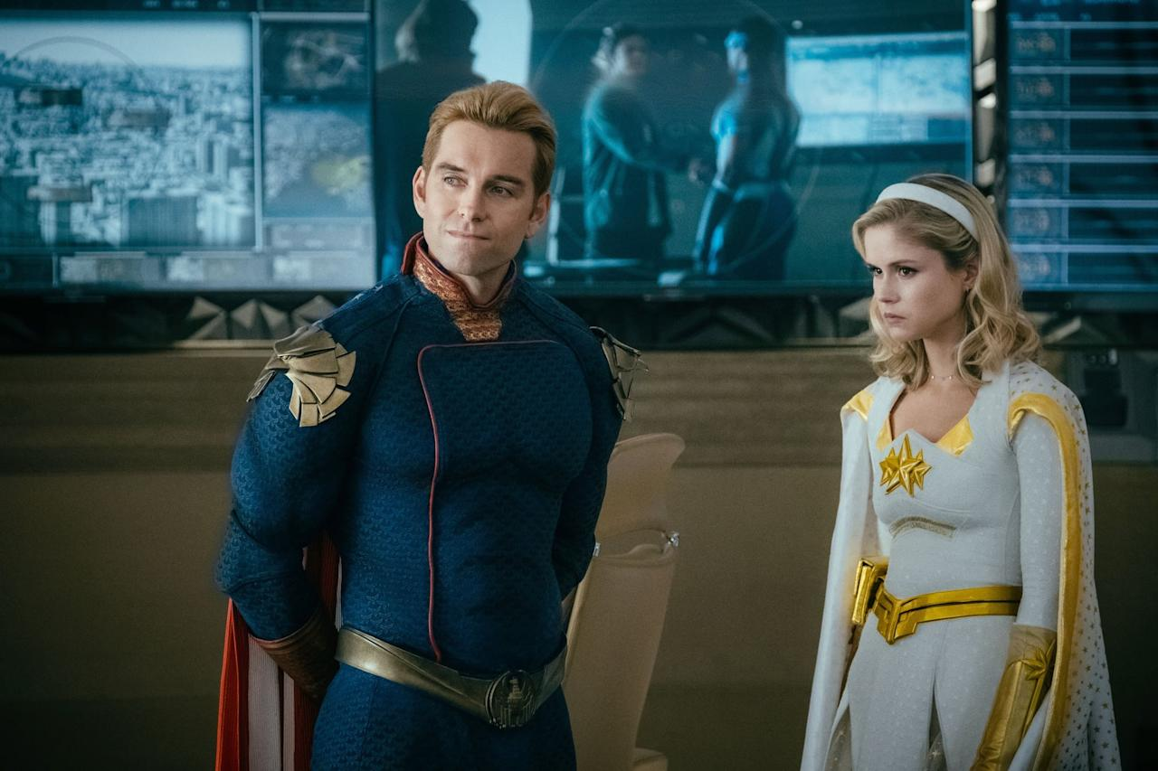 """<p>When Homelander reveals Hughie's identity to The Seven, chills ran down my spine. Starlight tries to defend herself against Homelander and he absolutely tears into her. At first, he chalks it up to her """"single ladies"""" movement and wanting <a href=""""https://www.popsugar.com/entertainment/the-boys-why-did-the-deep-leave-the-seven-47709357"""" class=""""ga-track"""" data-ga-category=""""internal click"""" data-ga-label=""""https://www.popsugar.com/entertainment/the-boys-why-did-the-deep-leave-the-seven-47709357"""" data-ga-action=""""body text link"""">The Deep out of The Seven</a> but he eventually becomes unhinged as Starlight continues speaking. Starlight is on the verge of tears when Queen Maeve speaks up for her. Had it not been for Maeve and her somewhat tumultuous relationship with Homelander, it's very possible that Homelander would've tried to eradicate Starlight then and there.</p>"""