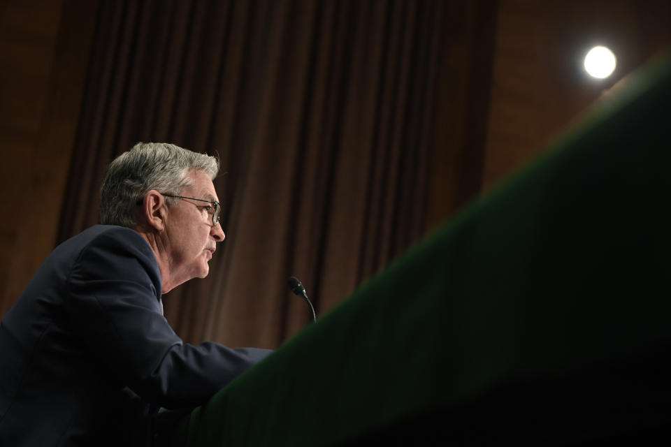 Federal Reserve Chairman Jerome Powell testifies before the Senate Banking Committee on Capitol Hill in Washington, Wednesday, Feb. 12, 2020, during a hearing on the Monetary Policy Report. (AP Photo/Susan Walsh)
