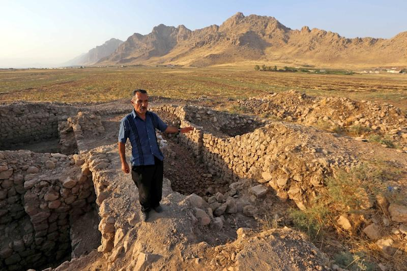 Are these stones in Iraq's autonomous Kurdish region what remains of a city founded in 331 BC by Alexander the Great? (AFP Photo/SAFIN HAMED)