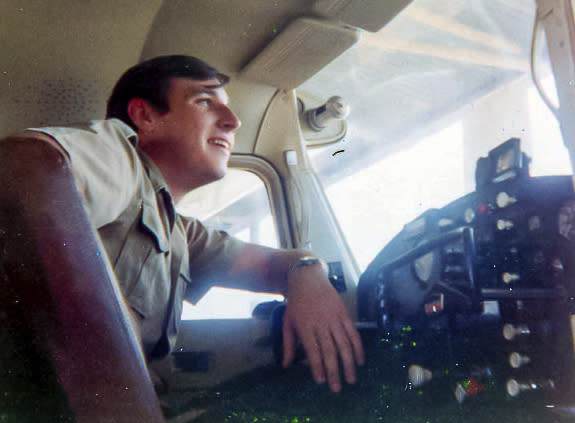 """This 1971 photo provided by David Waldrup shows him in the cockpit of a Cessna 172 at White Rock airport in Dallas. The day of the moon landing on July 20, 1969, David was celebrating not only man's first steps on the moon - he was also celebrating his 15th birthday. """"I was a child of the space race growing up in the 60's and watching everything we did to put men on the moon. I built models of the Mercury, Gemini and Apollo spacecraft and read everything I could find on the vehicles and men flying them. But I was most excited when, on my 15th birthday, my family gathered around our TV to watch the live broadcast in Dallas, Texas as Neil Armstrong walked on the moon. What a birthday gift for and excited space nut! And then my next feeling was, wow, what are we going to do next? It's literally not just the sky, but outer space is the limit. And I can't wait to be part of it. And I knew at some level, I would be part of it somehow."""" (Courtesy David Waldrup via AP)"""