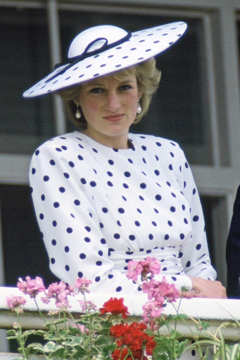 <p>In a head-to-toe polka dot look while watching The Derby in Epsom, Surrey. </p>