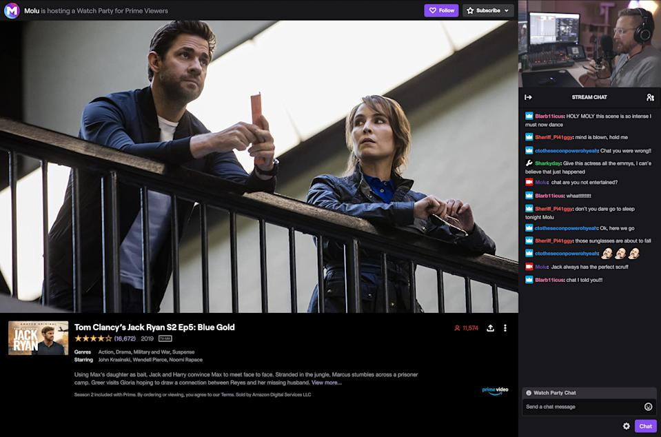 Twitch, the video game-centric streaming service owned by Amazon, lets you host a movie watching party, streaming movies from the Amazon Prime Video library.