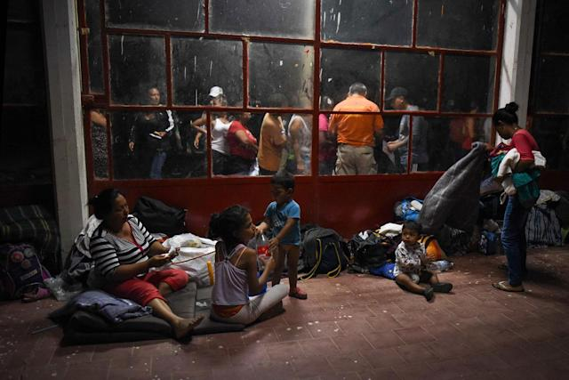"<p>Central American migrants -taking part in a caravan called ""Migrant Viacrucis""- rest at a sports center field in Matias Romero, Oaxaca state, Mexico on April 2, 2018. President Donald Trump lashed out in fury Monday over immigration, an outburst triggered by images of a ""caravan"" of hundreds of Central American migrants headed towards the US border. (Photo: Victoria Razo/AFP/Getty Images) </p>"