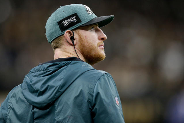 "Carson Wentz's teammates are rushing to his defense after a report featured Eagles sources calling him ""selfish"" and ""egotistical."" (Getty Images)"