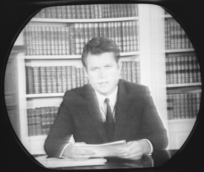 Sen. Edward Kennedy is shown on the TV screen as he spoke to the nation concerning the controversy surrounding his recent accident, July 25, 1969. In the 15-minute talk, Kennedy denied being under the influence of liquor when his automobile plunged from a narrow island bridge, killing his passenger, Mary Jo Kopechne. He also dispelled rumors of immoral conduct between the two. He left the question of whether or not he should remain in office, up in the air, for further consideration by both himself and the people of Massachusetts. (Photo: RR/AP)