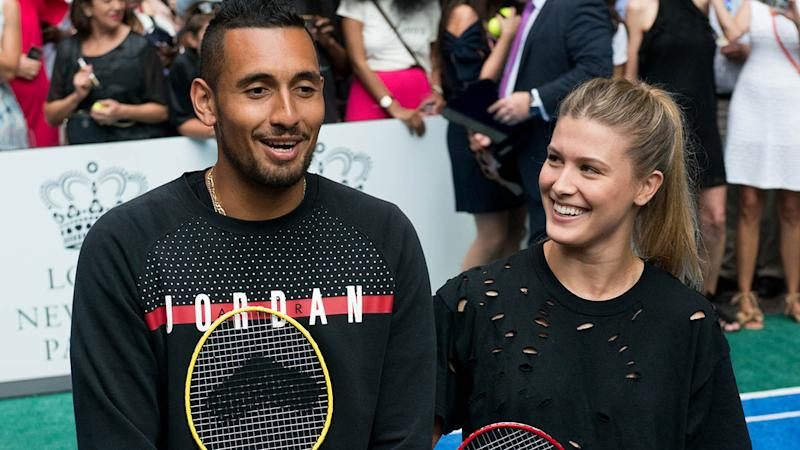 Nick Kyrgios and Eugenie Bouchard at the Lotte New York Palace Invitational in 2017. (Photo by Noam Galai/WireImage)