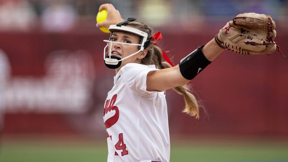 Pitcher Montana Fouts threw a gem against Arizona in Alabama's Women's College World Series opener on Thursday.