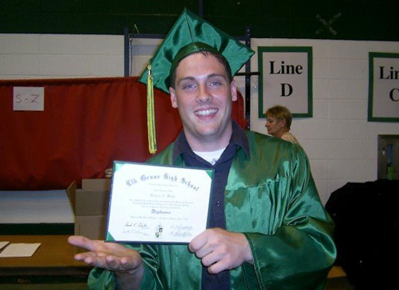 "This June 2007 family photo provided by the Weiler/Meyers family shows, Greg Weiler at his high school graduation from Elk Grove High School, in Elk Grove Village, Ill. Wieler who has a a long history of mental illness has been charged with plotting to attack dozens of churches in Oklahoma with home made Molotov cocktails. Weiler's parents both committed suicide, and Weiler has battled drug addiction and ""a lot of mental illnesses"" that led to a suicide attempt in the eighth grade, said his cousin Johnny Meyers. Meyers' parents served as legal guardians for Weiler after the death of his parents. He said family members in suburban Chicago believe Weiler must have stopped taking his medication and planned to go to Oklahoma to see him. (AP Photo/courtesy the Weiler/Meyers family)"