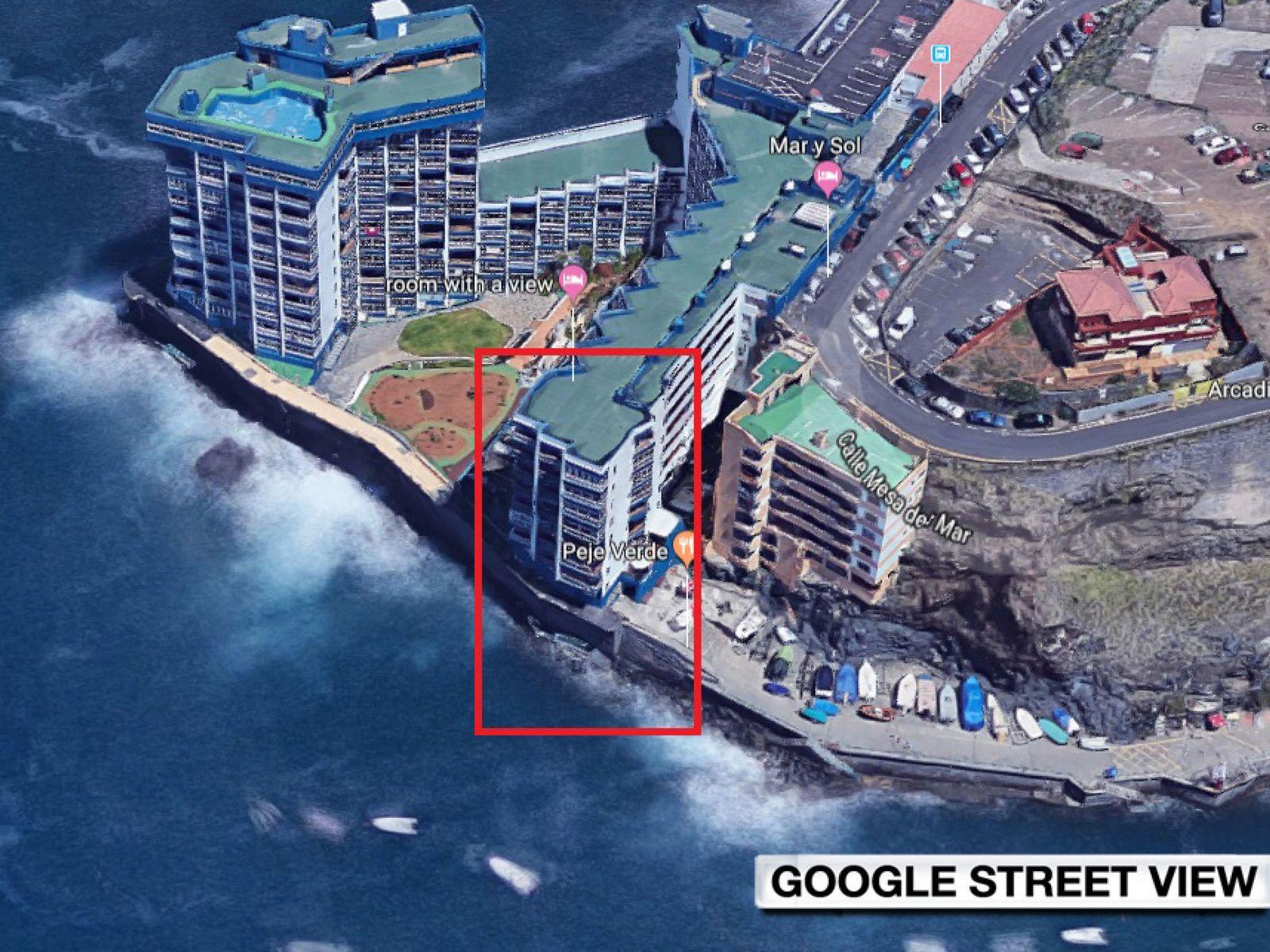 The building in the video is featured in the red box. Pic: Google
