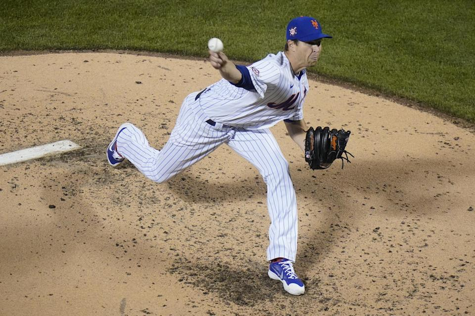 New York Mets' Jacob deGrom delivers a pitch during the fourth inning of a baseball game against the Washington Nationals Friday, April 23, 2021, in New York. (AP Photo/Frank Franklin II)