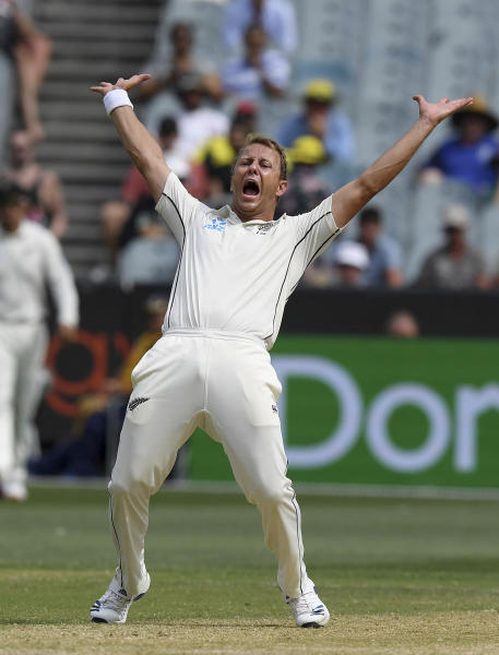 New Zealand's Neil Wagner appeals for an lbw against Australia during their cricket test match in Melbourne, Australia, Saturday, Dec. 28, 2019. (AP Photo/Andy Brownbill)